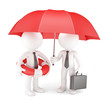 Business team with umbrella and life buoy