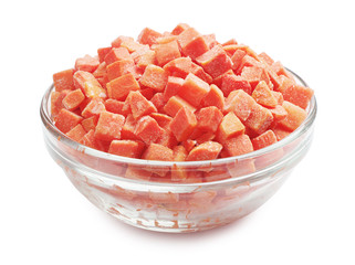 Frozen carrots in a glass bowl