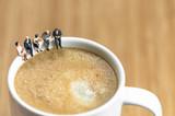 Fototapety Miniature business team having a coffee break