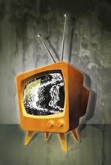TV noise tube televisison with grey background