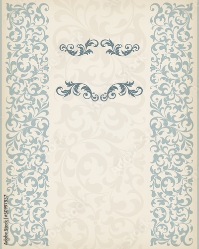 vintage border frame decorative ornate wedding vector