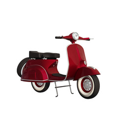 Isolated vintage red glossy motorcycle, scooter, vespa