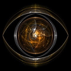 Fractal flame background. Gold brown eye.