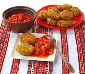 Vegetable cutlets of chick peas and vegetable stew, lecho