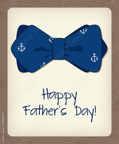 Father day greeting card with bow tie