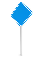 Blue blank rectangle traffic sign