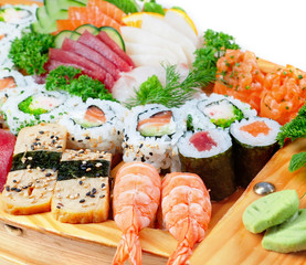 Delicious varieties of exotic sushi seafood.