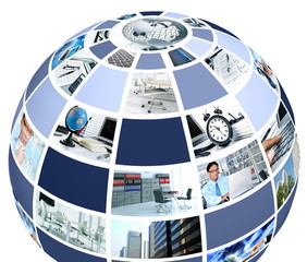 Office collage in globe shape