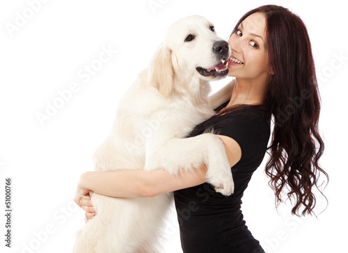 Beautiful young woman with a dog