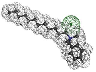 Benzalkonium chloride biocide, molecular model