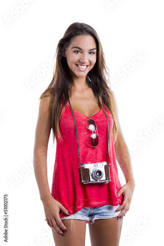 Happy tourist with a old vintage camera