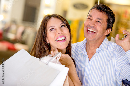 Couple at a shopping center