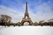 Eiffel Tower in the snow