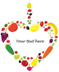Heart of fruits and vegetables. Vector postcard