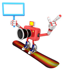 Red Camera Character snowboard a riding. Create 3D Camera Robot