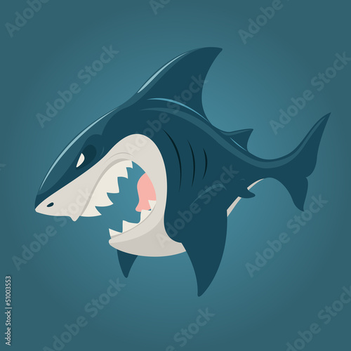 Cartoon shark side view