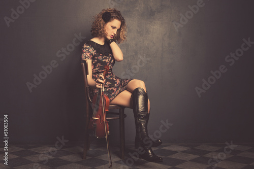 teen with violin