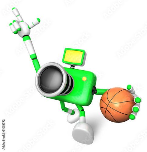 The green camera character holding a basketball running. Create