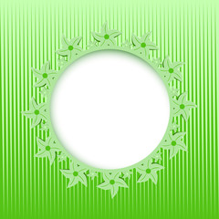 lace round frame on the green background
