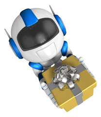 Blue robot character holding a gift with both hands. Create 3D H
