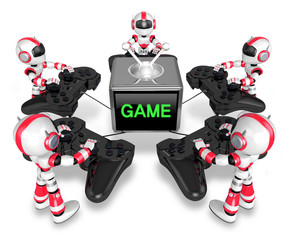 Red robots playing games. Create 3D Humanoid Robot Series.