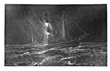 Segelschiff in schwerer See (Alte Lithographie)