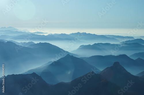 Spoed canvasdoek 2cm dik Luchtfoto Nebelschwaden in den Tälern des Voralpenlandes