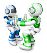 Green robots and Blue robots Pushing each other. Create 3D Human