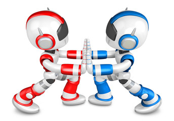 Red robots and Blue robots Pushing each other. Create 3D Humanoi