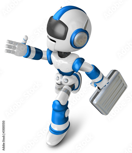 Blue robot character holding a briefcase left going to Running.