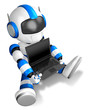 Blue Robot Character sitting on holding a laptop. Create 3D Huma