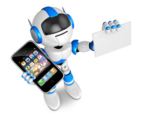 Blue robot character Smart Phone the left hand holding. business