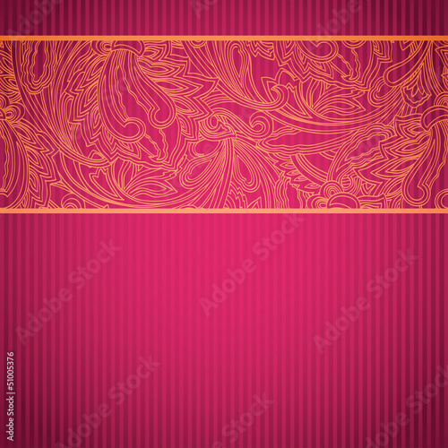 Pink ornamental card with lace