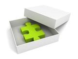 green puzzle white box with cover on a white background