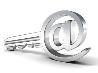E-mail metallic key at sign. Internet security concept