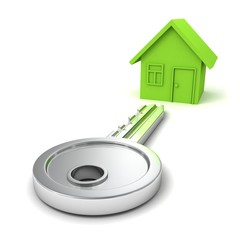 big concept key to green dream house on white