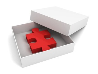 red puzzle peace in opened white gift box
