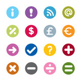Set of modern web universal icons. 16 different colors.