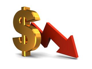 dollar falling graph