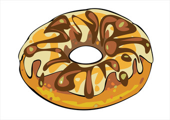 vector donut with brown glaze isolated on white background