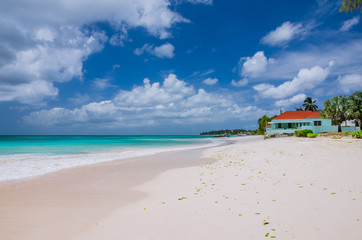 White Sand Beach with a Colourful Beachfront House