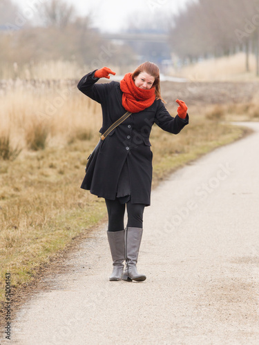 Woman dressed in warm clothing