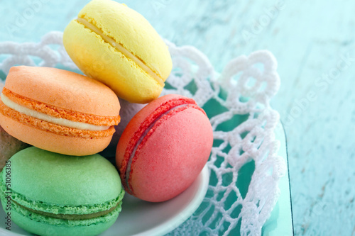 Closeup of colorful macaroons