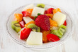 fruit salad in white dish