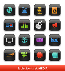 Audio and video. Tablet buttons collection isolated on white