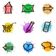 Vector web & internet watercolor icons set