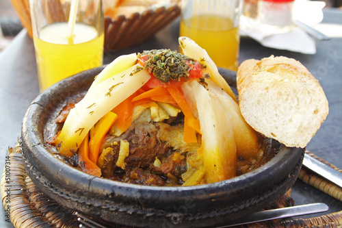 Morocco national dish - tajine of meet with vegetables