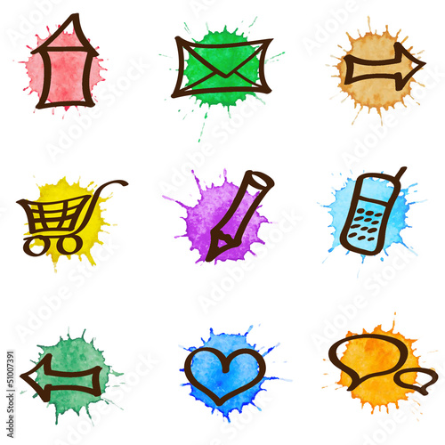 Vector web & internet watercolor icons set