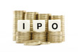 IPO (Initial Public Offering) on gold coins on white background
