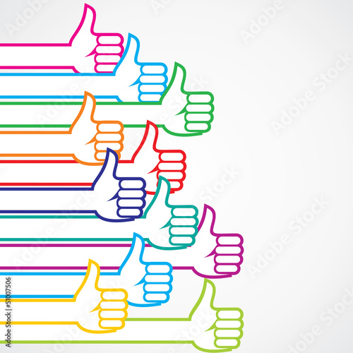 Colorful like or thumbs-up sign background  stock vector